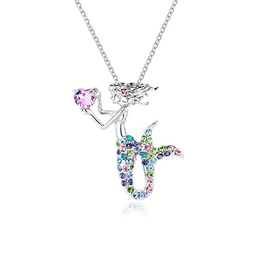 Kjiasiw Mermaid Pendant Necklace Jewelry Crystal Pendant Gift for Girls Women (Multi-Color)