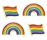 Penta Angel 4Pcs Rainbow Brooch Pins Gay Lesbian Pride Enamel Flag Lapel Collar Hat Shawl Pins for Men Women Clothes and Bags Decoration