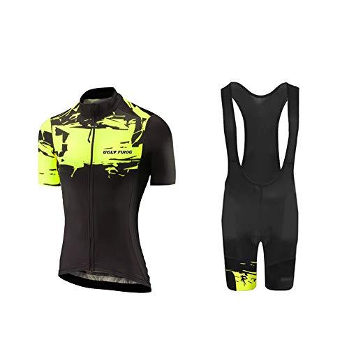 UGLY FROG Mujer Conjunto Chaleco Ciclismo Maillot Ciclista Mangas Cortas Y Culotte Bicicleta con 20D Gel Pad Camiseta MTB para Verano DXWH03
