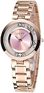 Guou Women Rotating diamond Pink Dial Stainless Steel Band Watch-SB005