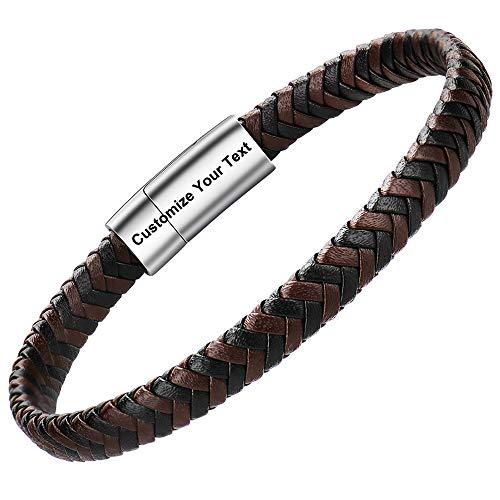 Pulsera cuero hombre - Pulsera trenzada hecha a mano clásica en negro y marrón con cierre magnético grabado Joyas gratis en caja (20, Custom26)