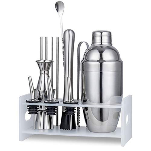 W7 Cocktail Shaker, 9 Pcs Professional Cocktail Maker Set, Stainless Steel, Smooth Bracket, Heavy Duty Rust and Scratch Resistant, Easy Placement