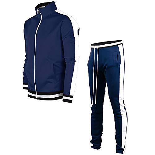 VANVENE - Tuta da uomo con pantaloni da jogging a maniche lunghe, cardigan e pantaloni casual con zip Marina Militare M