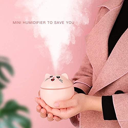 Humidificador de aire USB Lucky Cat de 300 ml, difusor de aroma para coche, con luces LED, purificador de aire portátil, color rosa y blanco