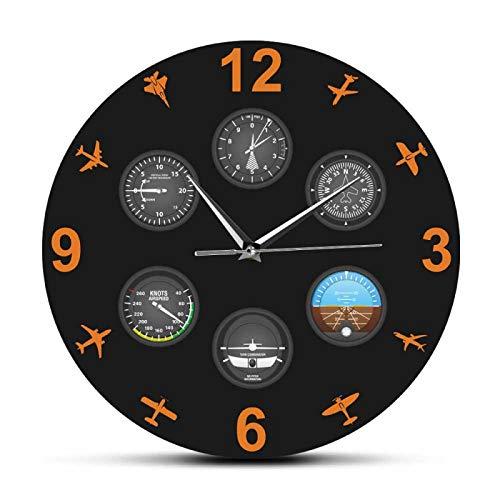 hufeng Reloj de Pared Aviación Aviador Diseño Moderno Reloj de Pared Impreso Instrumento de Vuelo con Aviones Militares Reloj silencioso Reloj piloto