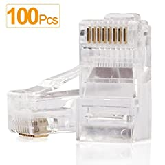 SHD 100PCS RJ45 Connectors Modular Plug Clear Plastic Easy to DIY Ethernet Cable When You Need Universal Type RJ45 Ends for Cat6 Connector Cat5E Connector Cat5 Connector UTP 8P8C UTP Solid RJ45 Crimp Connector Crystal,Suit for General RJ45 Crimp Tool...
