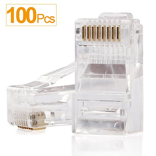 RJ45 Connectors,SHD Cat6 Connector Cat5e Connectors Cat5 Connectors RJ45 Ends Ethernet Cable Crimp Connectors-100Pcs