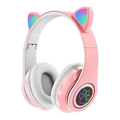 ZHON Fone de ouvido rosa para jogos, sem fio Bluetooth 5.0 em forma de orelha de gato bonito Fone de ouvido luminoso sobre a orelha para homens e mulheres