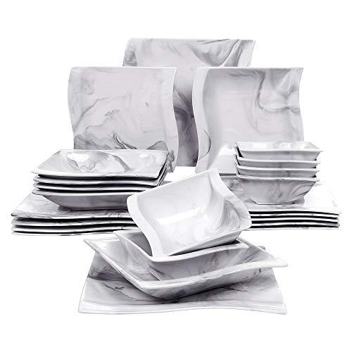 MALACASA, Serie Flora, Marmor Porzellan Tafelservice 24 teilig Set Kombiservice Geschirrset mit je 6 Speiseteller, 6 Suppenteller, 6 Dessertteller und 6 Müslischale