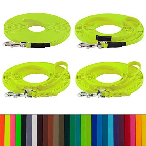 LENNIE BioThane Schleppleine, 15m, Neon-Gelb, 16mm für große Hunde, genäht/geflochten, Handschlaufe & Karabiner wählbar