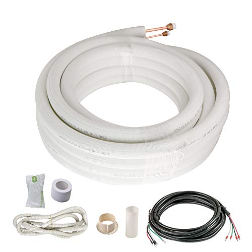 iCool Copper Pipes for Mini Split Air Conditioner 25 Ft. 1/4' & 1/2' OD Insulated Coil Line Set HVAC with Fittings White