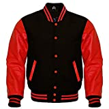 Premium Letterman Baseball School College Bomber Varsity Jacket Wool Blend & Genuine Leather Sleeves (Black/Red, 2XL)