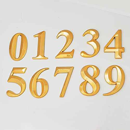 2-3/4 Inch Self Adhesive House Numbers, Gold 3D Address Sign Number Stickers for Mailbox, Apatment, Home Hotel Room Decorative Project 2-3/4 Inch High. (10 Pcs(0 to 9), Gold)