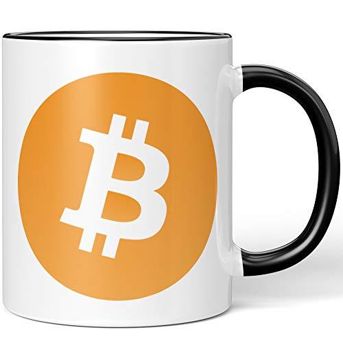 JUNIWORDS Tasse, Bitcoin Logo Symbol (1000272), Wähle Farbe, Schwarz