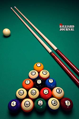 My BILLIARD JOURNAL DOT GRID STYLE NOTEBOOK: 6x9 inch daily bullet notes on dot grid design creamy colored pages with pool ques 9 balls on table cover perfect gift idea for woman man game player