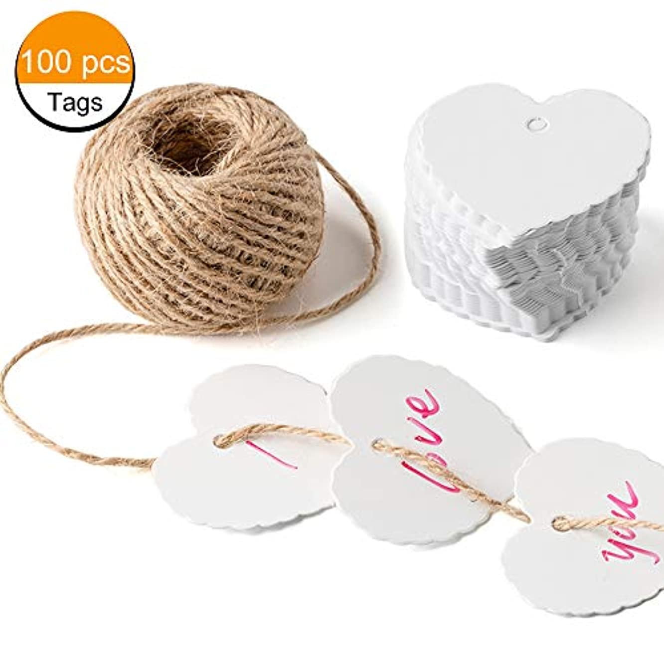 Gift Tag Blank Label Wedding Birthday Thanksgiving Gift Creative Christmas Editable Thank You Tags 100 Pcs with Natural Jute Twine,White
