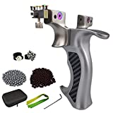 QAQWER Stainless Steel Slingshots Lightweight Wrist Rocket with Auxiliary Sight & 3 Replacement Rubber Band & Storage Bag & 100 Steel Ammo & 300 Clay Ammo Suitable for Pinball Lovers and Beginners