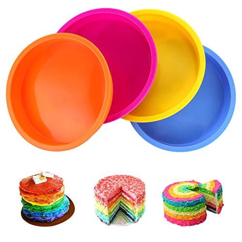 Aitsite Rotondo Tortiera di Silicone, Stampo Rotondo Round Cake Pan Tin Antiaderente, Stampo per Torta in Silicone di Alta qualità da 6 Pollici, Set di 4.
