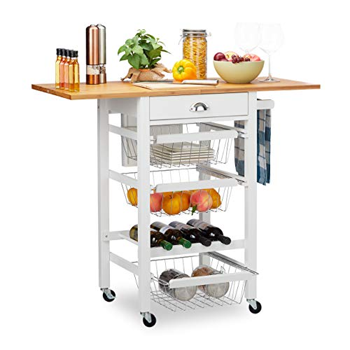 Relaxdays Küchenwagen, Küchenbutler mit klappbarer Arbeitsplatte, Landhausstil, 3 Körbe, Messerblock, für Flaschen, weiß