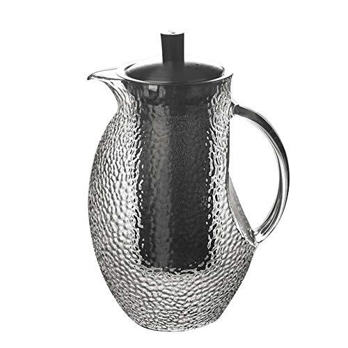 GSAGJsf Glaskrug mit Deckel - Einzigartige amerikanische Muster - hohe Hitzebeständigkeit Wasserkrug for heißes/kaltes Wasser und Eistee