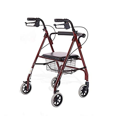 HGBKJUO Andador para Ancianos, Rollator Plegable Regulable en Altura con Frenos de Maneta Asiento Respaldo y Cesta Ayuda a la Movilidad para Ancianosa Aluminio