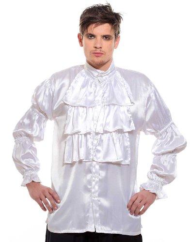 Frilly Ruffled Seinfeld Pirate Costume Shirt (Small) White