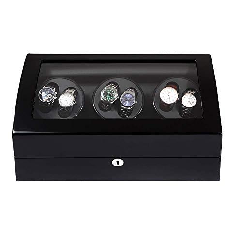HAOYANG-boîte de montre Binder de montre automatique avec des stockages supplémentaires Espaces silencieux Mabuchi Black Watch Winder Automatique Way Winder 6 + 7 Storage Cas de rangement, Boîtier de