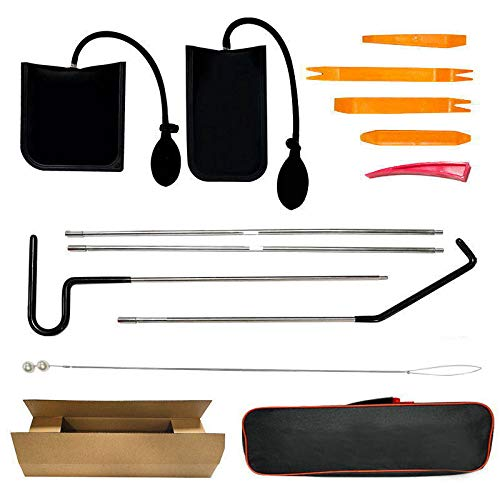 ArtSwithly Tools Car Emergency 12-Piece Kit, Long Reach Grabber(Stainless Steel), Air Pump Wedge, Non-marring Wedges, Carrying Case Bag