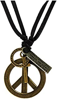 WellPoint Leather Hollow Peace Symbol Design Adjustable Pendant for Men and Women (Multicolour)