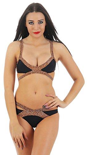 Fashion4Young 11192 Damen Bikini Sets 2-teilig Badeanzug Bademode Beachwear Leoprint (S=36 Cup B, schwarz-Leo)
