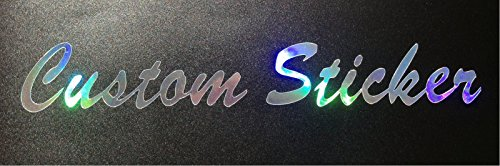 Pro Silver Hologram Chrome Custom Text Slogan Personalised Personal Stickers Decals Small to Large 200mm Width