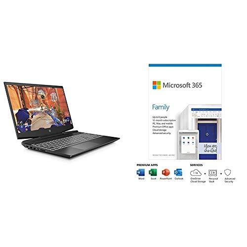 HP Pavilion 15-dk1019na 15.6 Inch Full HD Gaming Laptop - (Shadow Black) (Intel Core + Microsoft 365 Family | 6 Users | Box