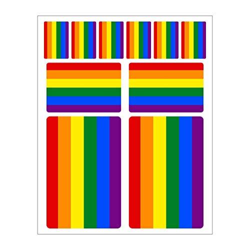 Generisch 10 Stück Flaggen Aufkleber Regenbogen Set   Sticker Gay LGBT Homosexuel Schwul Autoaufkleber
