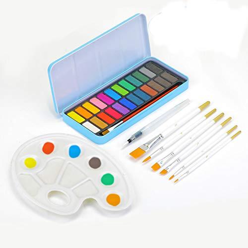 KATELUO Aquarellfarbkasten, 22 kräftige Wasserfarben Set,mit 1 Wassertankpinsel+1 Palette + 7 Wasser Pinsel Stift zum Malen für Anfänger, Studenten und Kinder, Künstler Profis