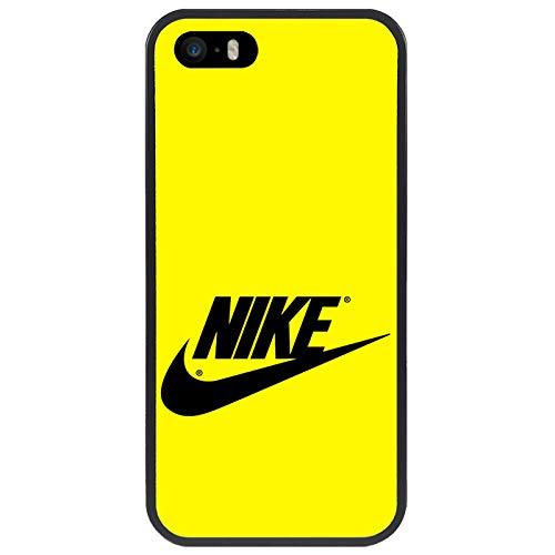 zoilastore Benutzerdefinierte Hülle kompatibel mit Nike auf gelbem mobilen Hintergrund für Apple iPhone 5 5s Flexibler schwarzer TPU-Rand aus Gummi