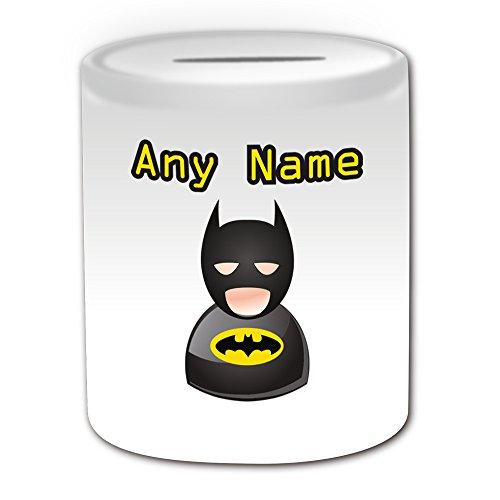 Personalisiertes Geschenk–Batman Spardose (Icon Design Thema, weiß)–alle Nachricht/Name auf Ihre einzigartige–Hero