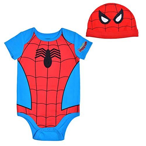 Avengers Short Sleeve Onesie with Cap, Spiderman Bodysuit, Baby Costume Romper, Blue, Size 12M
