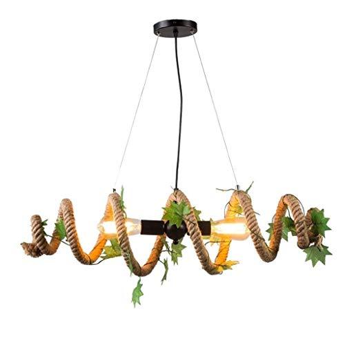 Indoor Kroonluchter Vintage Retro Hennep Touw Plafond Hanger Lamp Ophangen Plafond Lamp Antiek Verlichting Deco [Energie Klasse A +]