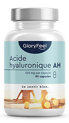 Acide Hyaluronique Capsules - 525mg Dosage Éléve - 90 Capsules Végétaliennes (3 Mois) - 500-700 kDa Agit en Profondeur - Complément Acide Hyaluronique Pour la Peau et les Articulations