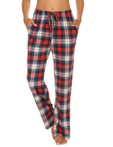 Schlafanzughose Damen Lang Pyjamahosen Karierte Schlafanzug Pyjama Hose Soft Nachtwäsche Schlafhose Bottoms mit Elastischer Taille Freizeithose Blau L