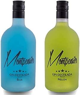 Pack Montpensier Gin Premium Blue & Melón - Ginebra Premium realizada en Andalucía de manera artesanal con 5 destilaciones, 10 botánicos y alcohol de grano 100% - 70cl