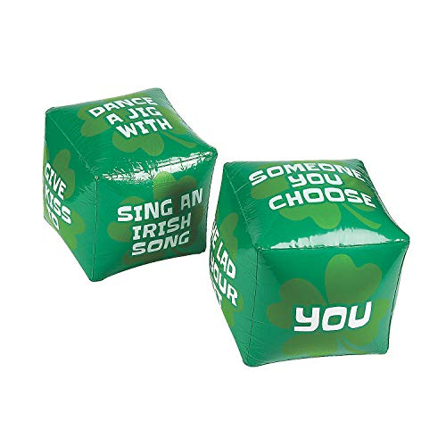 Fun Express - St Patrick's Day Jumbo Inflate Dice for St. Patrick's Day - Toys - Inflates - Inflatable Games - St. Patrick's Day - 2 Pieces