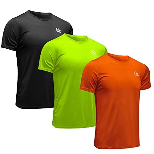 MEETWEE Sportshirt Herren, Laufshirt Kurzarm MeshFunktionsshirtAtmungsaktivKurzarmshirt Sports Shirt TrainingsshirtfürMänner (schwarz+orange+grün, L)