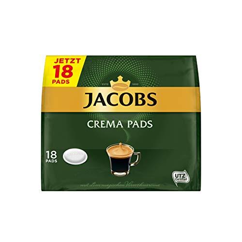 Jacobs Pads Crema, 90 Kaffeepads, UTZ-zertifizierter Kaffee, 5er Pack, 5 x 18 Getränke