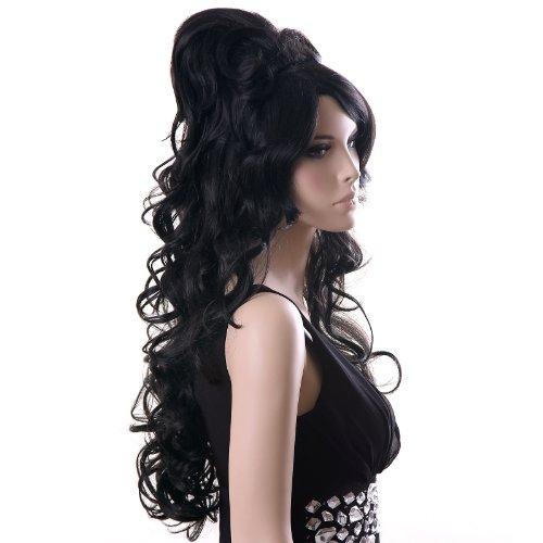 SONGMICS Perücke Frauen Damen Haar Amy Winehouse Wigs Schwarz lockig Lang für Karneval Fasching Cosplay Party Kostüm WFS371