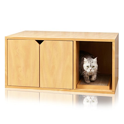 Way Basics Cat Litter Box Enclosed Modern Cat Furniture (Tool-Free Assembly and Uniquely Crafted from Sustainable Non Toxic zBoard Paperboard) Natural