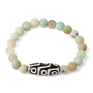 Naturstein Elastic Strand Armbänder Lava Pink Quarz Tibetische Perle Achate Dzi Armband Für Frauen Männer Schmuck-Amazonit