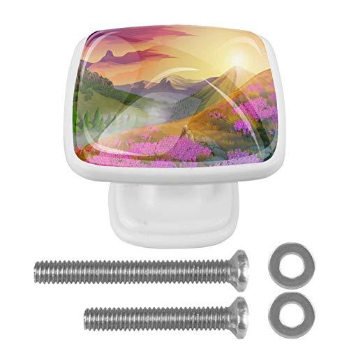 Pomos de cristal con diseño de flores rosadas y montañas, para armario, puerta y armario