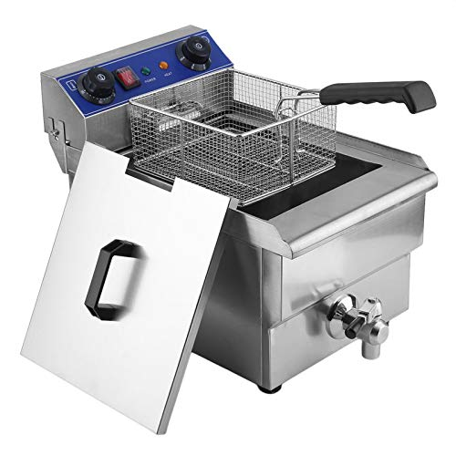 Electric Fryer with Basket,electric fryer,Oil Thermostat,13L 1.65KW Temperature Control Timing Stainless Steel Single Container Commercial Restaurant Electric Deep Fryer US Plug