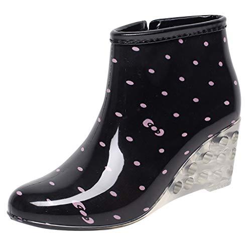 Logobeing Botas de Agua Goma Cuñas Botas de Lluvia de Tubo Corto Antideslizantes Zapatos Impermeables de Agua Mujer Botine